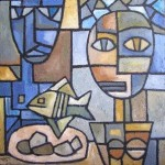 Two figures and fish